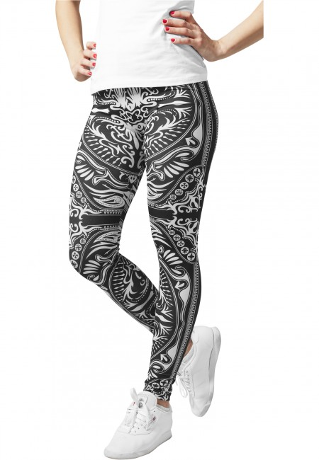 Urban Classics Ladies Ornament Leggings blk/wht